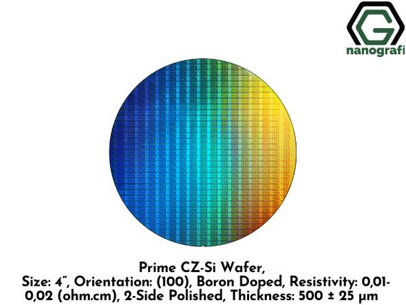 "Prime CZ-Si Wafer, Size: 4"", Orientation: (100), Boron Doped, Resistivity: 0,01-0,02 (ohm.cm), 2-Side Polished, Thickness: 500 ± 25 μm"