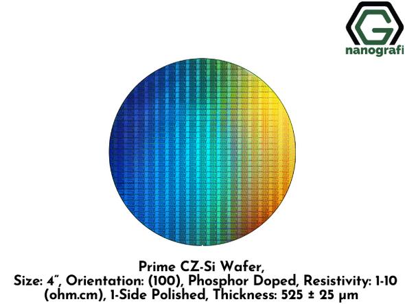 "Prime CZ-Si Wafer, Size: 4"", Orientation: (100), Phosphor Doped, Resistivity: 1-10 (ohm.cm), 1-Side Polished, Thickness: 525 ± 25 μm"