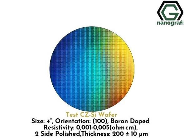 "Test CZ-Si Wafer, Size: 4"", Orientation: (100), Boron Doped, Resistivity: 0,001-0,005 (ohm.cm), 2-Side Polished, Thickness: 200 ± 10 μm"