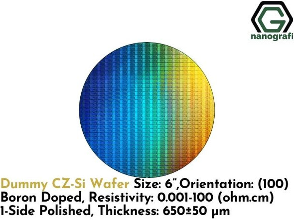 "Dummy CZ-Si Wafer, Size: 6"", Orientation: (100), Boron Doped, Resistivity: 0.001 - 100 (ohm.cm), 1-Side Polished, Thickness: 650 ± 50 μm"