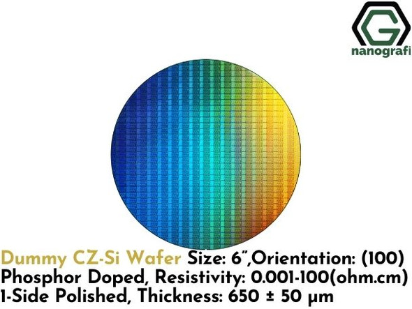"Dummy CZ-Si Wafer, Size: 6"", Orientation: (100), Phosphor Doped, Resistivity: 0.001 - 100 (ohm.cm), 1-Side Polished, Thickness: 650 ± 50 μm- NG08SW0243"