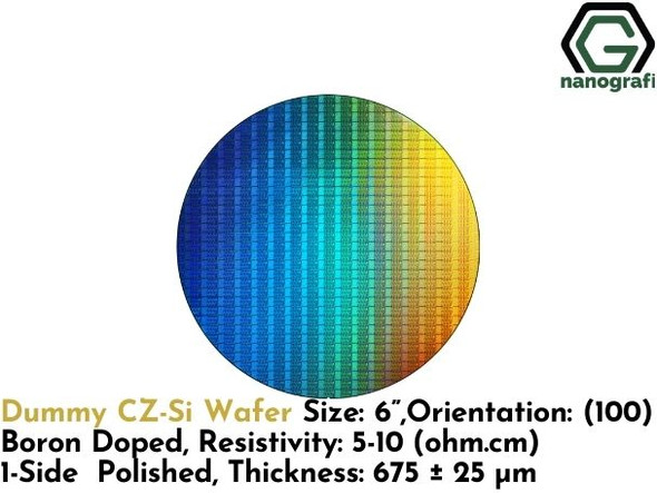 "Dummy CZ-Si Wafer, Size: 6"", Orientation: (100), Boron Doped, Resistivity: 5-10 (ohm.cm), 1-Side Polished, Thickness: 675 ± 25 μm- NG08SW0244"