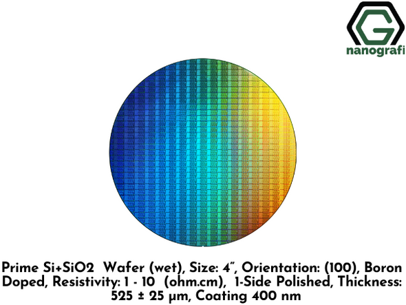 "Prime Si+SiO2 Wafer (wet), Size: 4"", Orientation: (100), Boron Doped, Resistivity: 1 - 10 (ohm.cm),  1-Side Polished, Thickness: 525 ± 25 μm, Coating 400 nm- NG08SW0316"