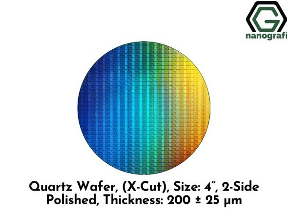 "Quartz Wafer, (X-Cut), Size: 4"", 2-Side Polished, Thickness: 200 ± 25 μm"