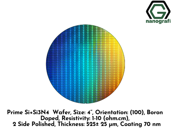 "Prime Si+Si3N4 Wafer, Size: 4"", Orientation: (100), Boron Doped, Resistivity: 1-10 (ohm.cm), 2 Side Polished, Thickness: 525± 25 μm, Coating 70 nm"