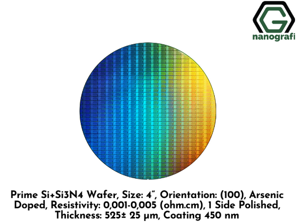 "Prime Si+Si3N4 Wafer, Size: 4"", Orientation: (100), Arsenic Doped, Resistivity: 0,001-0,005 (ohm.cm), 1 Side Polished, Thickness: 525± 25 μm, Coating 450 nm"