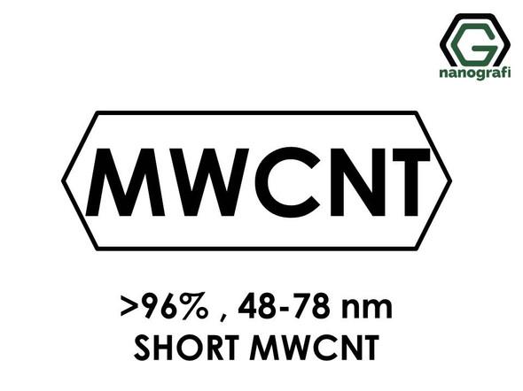 Short Length Multi Walled Carbon Nanotubes, Purity: > 96%, Outside Diameter: 48-78 nm- NG01SM0116