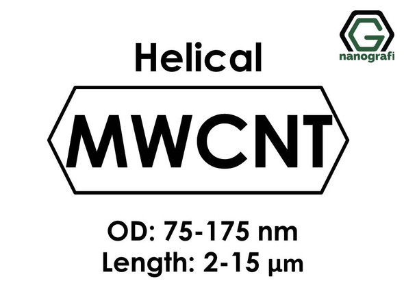 Helical Multi Walled Carbon Nanotubes, Outside Diameter: 75-175nm, Length: 2-15um