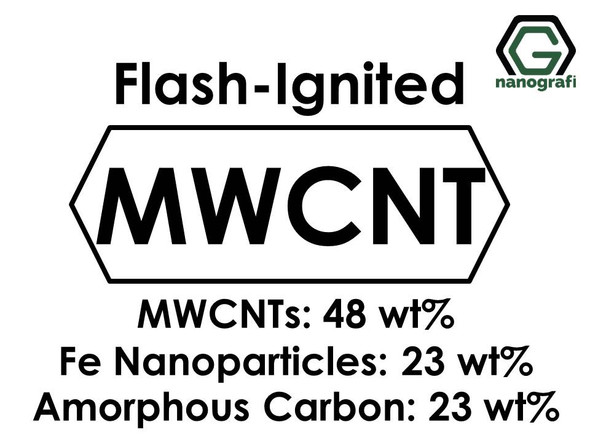 Flash-Ignited Multi-Walled Carbon Nanotubes (MWCNTs 48wt%, Fe Nanoparticles 23wt%, Amorphous Carbon 23wt%)