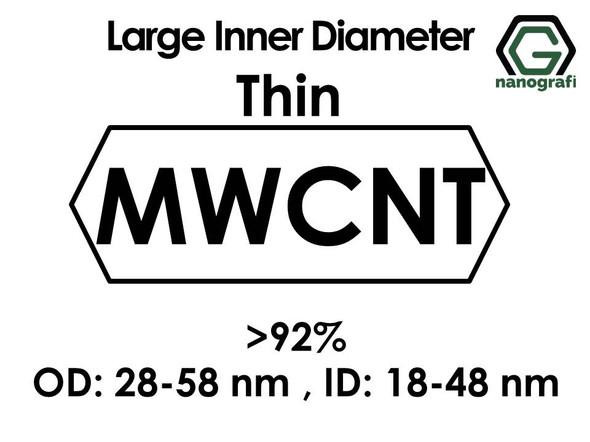 Large Inner Diameter Thin Multi-Wall Carbon Nanotubes, Purity: >92%, OD: 28-58nm, ID: 18-48nm