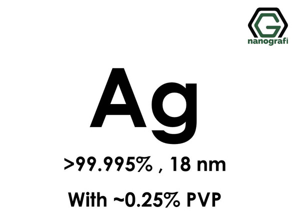 Silver (Ag) Nanopowder/Nanoparticles, Purity: > 99.995%, Size: 18 nm, w/~0.25% PVP- NG04EO0106