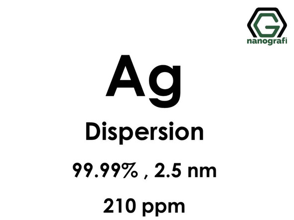 Silver (Ag) Nanopowder/Nanoparticles Dispersion, Purity: %99.99, Size: 2.5 nm, 210 ppm- NG04EO0108