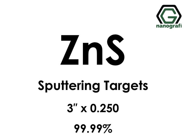 Zinc Sulfide (ZnS) Sputtering Targets, Size:3'' ,Thickness:0.250'' , Purity: 99.99%