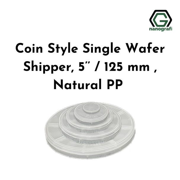Coin Style Single Wafer Shipper, 5'' / 125 mm , Natural PP