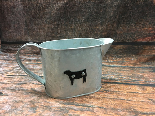 Galvanized Metal Pitcher with Small Steer Silhouette