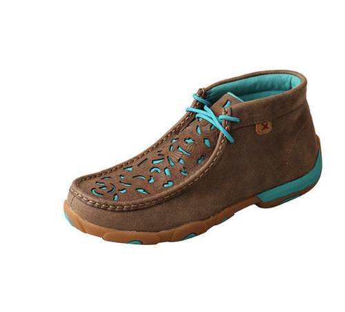 WDM0126 Twisted X Ladies Turquoise Inlay Chukka Driving Moc