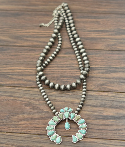 Turquoise and Navajo bead squash blossom necklace