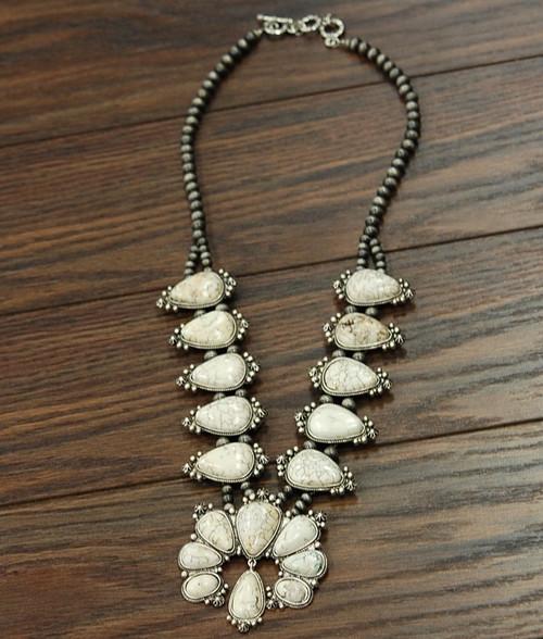 White Turquoise Dangle Squash necklace