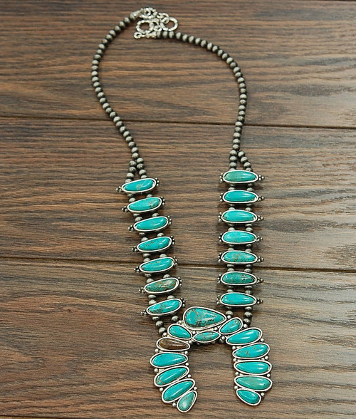 Turquoise squash blossom with navajo beads