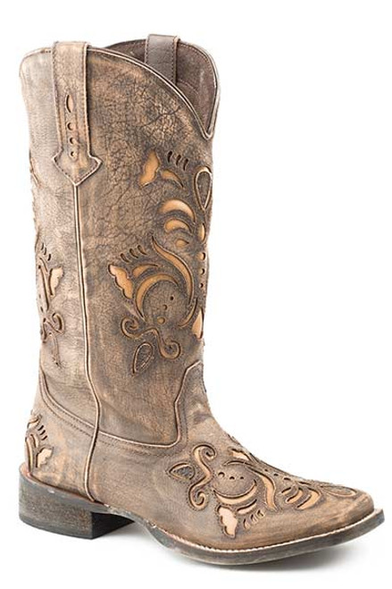 roper brown inlay boot