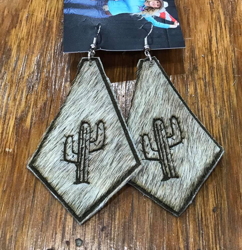Cowhide Cactus Earrings