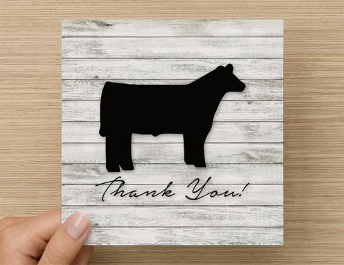Steer Thank You Card - White Washed Wood