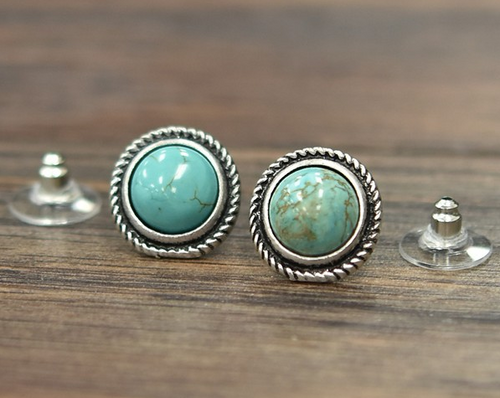 Turquoise Circle Stud Earrings with Silver Rope Edge