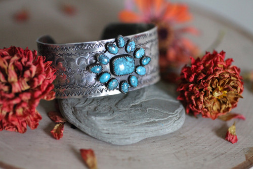 Handcrafted Hubei Turquoise and Sterling Silver Cluster Cuff