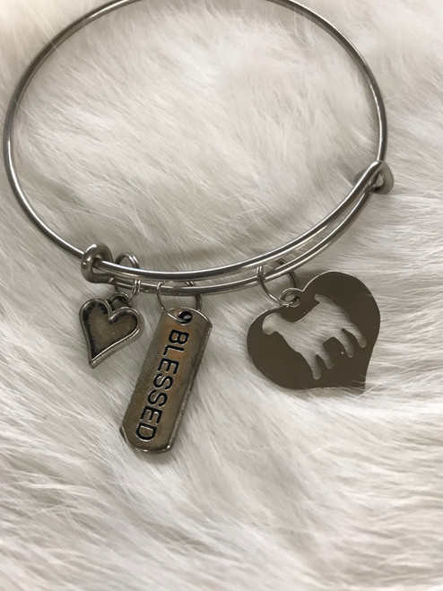 Goat heart bracelet with blessed charm