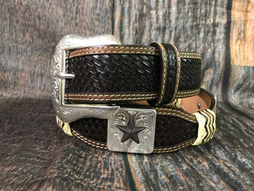Ranger Belt Co. Basketweave Belt with leather wrapping.