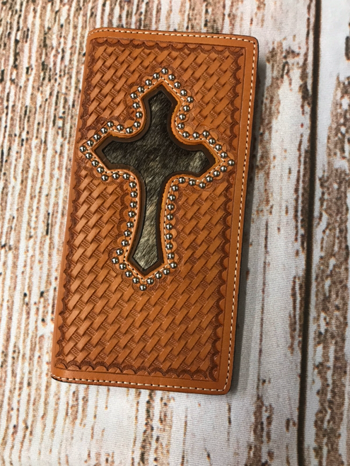 Ranger Belt Co Basketweave Cowhide Cross Stud Rodeo Wallet