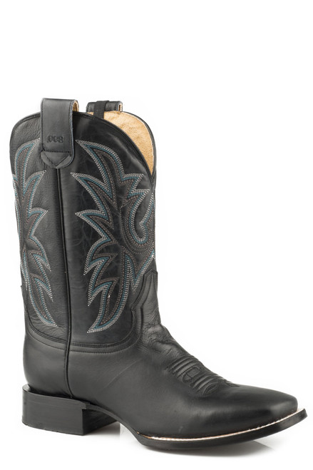 ROPER MENS LEATHER CONCEALED CARRY BOOT BURNISHED BLACK WITH EMBROIDERED UPPER 09-020-8250-0813 BL