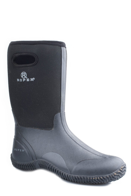MENS BARNYARD BOOT BLACK NEOPRENE UPPER WITH PULL HOLE AND RUBBER BOTTOM  09-020-1136-0095 BL