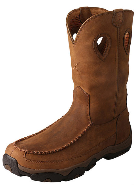 Twisted X Men's 11″ Pull-On Hiker Boot – Waterproof Distressed Saddle/Saddle M or Wide Fit MHKBW01