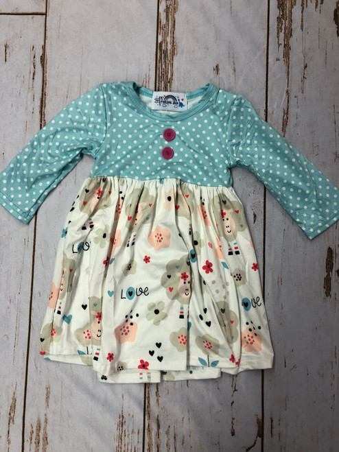 "Girl's Light Blue Polka Dot Lamb ""Love"" Long Sleeve Dress"