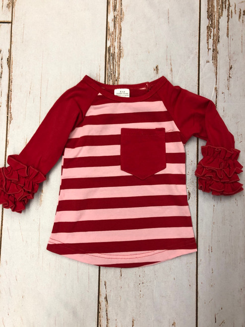 Girl's Red and Pink Stripe Ruffle Long Sleeve Shirt