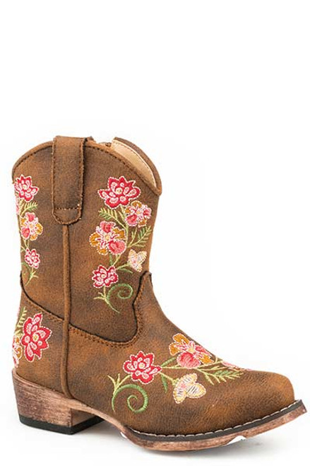 Roper Toddler's Juliet Brown Snip Toe Faux Leather Boot with Flower Embroidery 09-017-1566-2487 TA
