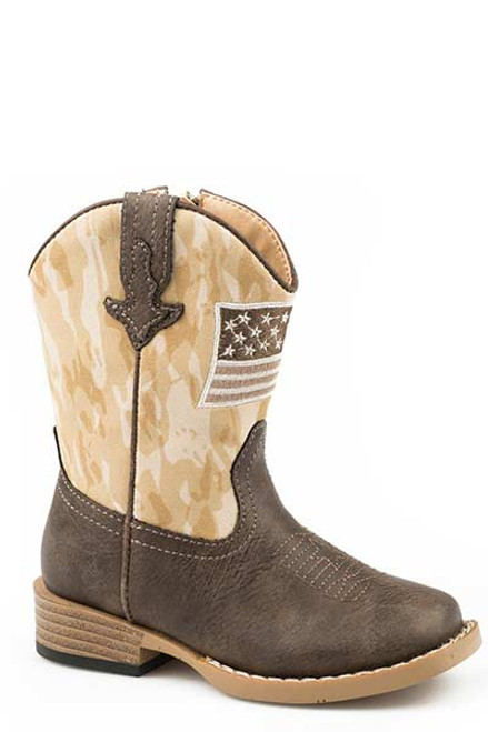 Roper Toddlers Allegiance Brown Square Toe Faux Leather Brown Vamp and Camo Flag Patch 09-017-1902-2561 BR