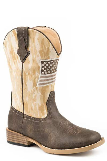 Roper Little Kids Allegiance Brown Square Toe Faux Leather Brown Vamp and Camo Flag Patch 09-018-1902-2561 BR