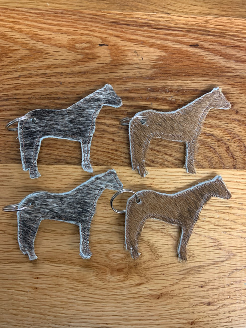 Cowhide Horse Keychain
