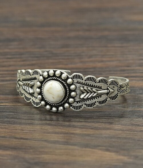 Bead Framed White Turquoise Circle Arrow Cuff Bracelet 711066