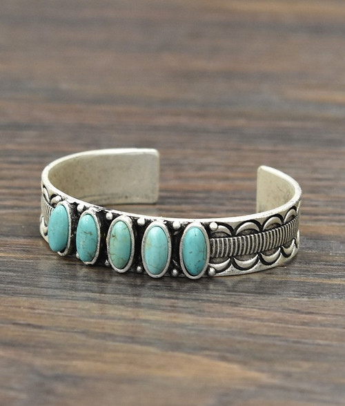 5 Stone Oval Turquoise Cuff Bracelet 711065