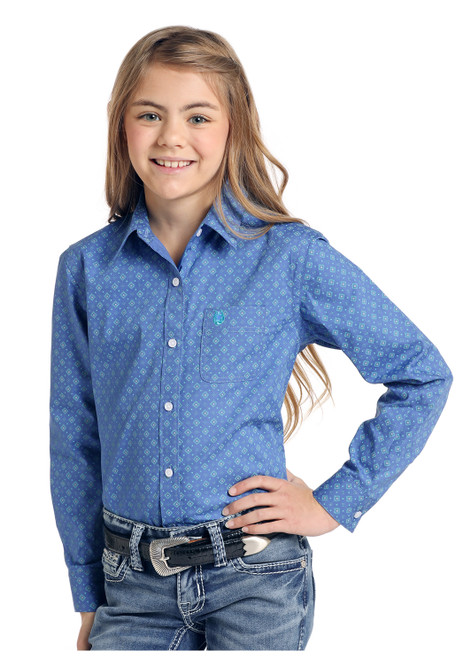Panhandle Girl's Blue Square Pattern Button Down R4B4031