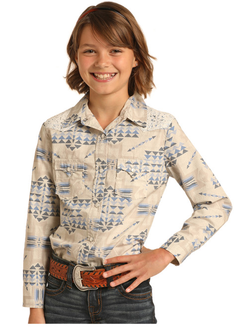 Rock & Roll Cowgirl Girl's Ivory Blue Aztec Lace Snap Shirt G4S4057