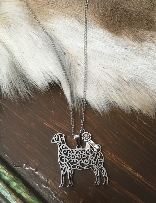Filigree Goat First Place Ribbon Necklace