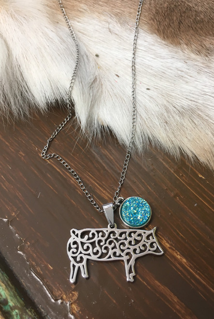 Filigree Pig Turquoise Druzy Necklace
