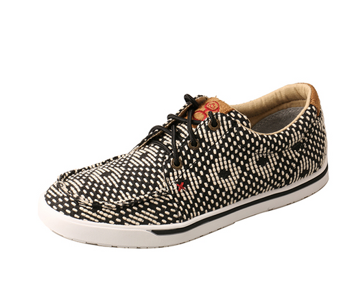 WHYC017 Twisted X Hooey Women's Black and White Print Loper Sneaker