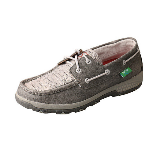 WXC0007 Twisted X Ladies Grey Eco Cell Stretch Boat Shoe Driving Moc