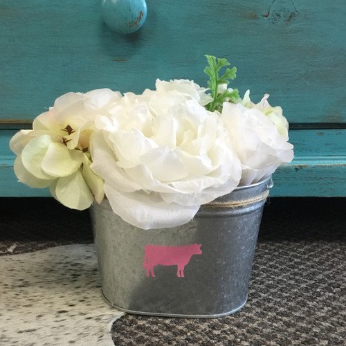 Pink Dairy Cow Tin with Artificial Flowers