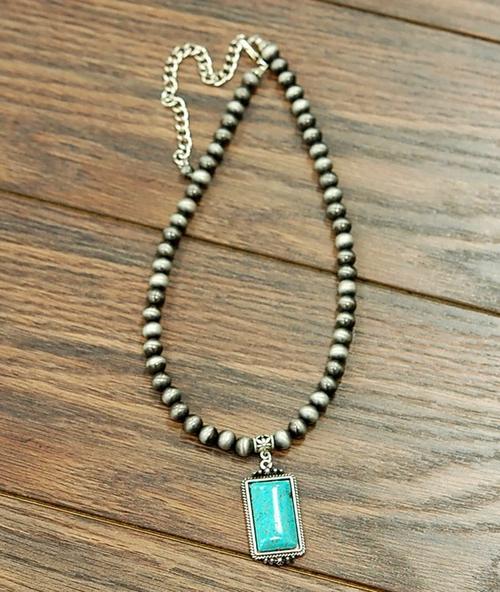 Square Turquoise Pendant Faux Navajo Bead Necklace 731722